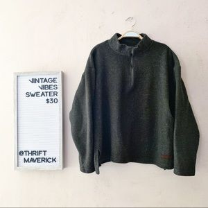 Forrest Green Zipper Pullover Sweater | Vintage